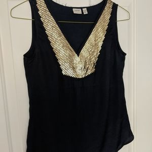 Esprit top in midnight blue with gold sequins
